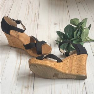 Toms black nylon sandals with cork wedge 4 in heel